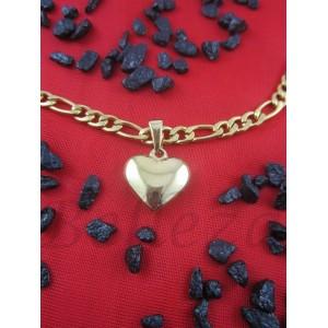 Колие и висулка сърце със златна баня от медицинска стомана N - 21336