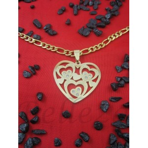 Колие с висулка сърце и златна баня от медицинска стомана N - 21351