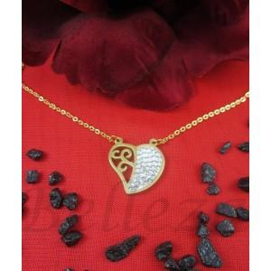 Колие и висулка сърце със златна баня от медицинска стомана и шамбала мотив N - 2189
