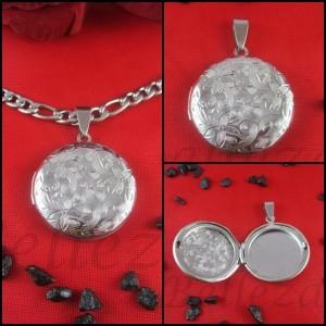 Колие с висулка за снимка, сребърна баня от медицинска стомана N - 21431