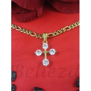 Колие и висулка кръст със златна баня от медицинска стомана N - 21476