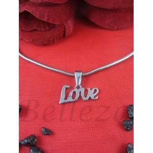 """Дамско колие и висулка с надпис """"Love"""", сребърен баня от медицинска стомана N - 21162"""