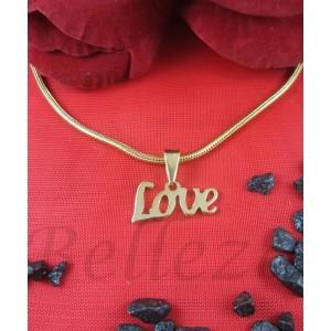 """Дамско колие и висулка с надпис """"Love"""", златна баня от медицинска стомана N - 21163"""