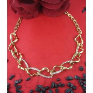 Нежен дамски ланец със златна баня от медицинска стомана и цирконий N - 21482