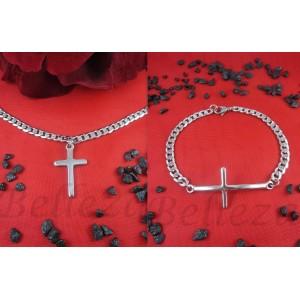 Комплект от ланец и гривна в сребърен цвят от медицинска стомана S - 2146