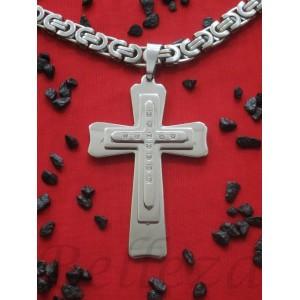 Ланец с кръст, сребърна баня от медицинска стомана N - 21255
