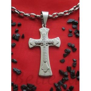 Ланец с кръст, сребърна баня от медицинска стомана N - 21208
