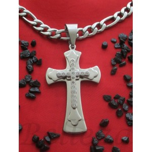Ланец с кръст, сребърна баня от медицинска стомана N - 21203