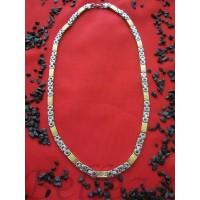 Ланец със сребърна и златна баня от медицинска стомана N - 21181