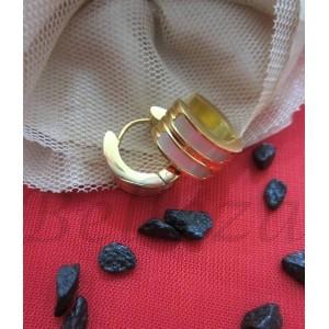 Обеци от медицинска стомана в златен цвят и седеф E - 2238