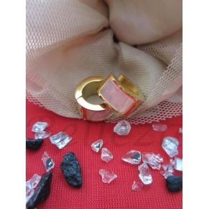 Дамски обеци със златна баня от медицинска стомана и бял седеф E - 2251