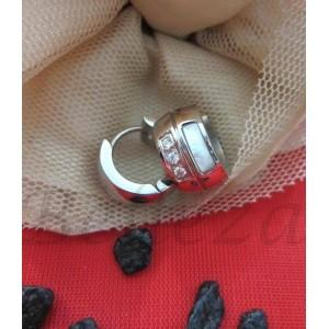 Обеци от медицинска стомана в сребърен цвят и седеф E - 2124