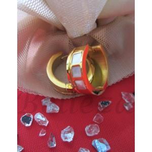 Дамски обеци със златна баня, от медицинска стомана с бял седеф E - 2121