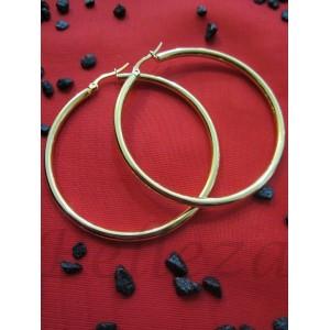 Обеци тип халки със златна баня от медицинска стомана E - 215