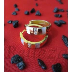 Обеци от медицинска стомана в златен цвят и седеф E - 21277