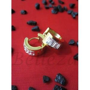 Обеци от медицинска стомана в златен цвят и кристали E - 21282