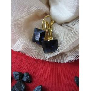 Обеци от медицинска стомана в златен цвят и син кристал E - 21290