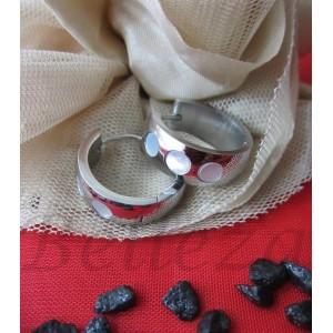 Дамски обеци със сребърна баня от медицинска стомана и седеф E - 21268