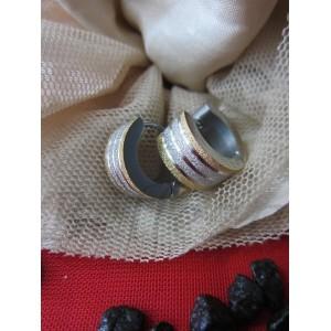 Обеци тип-халки със сребърна баня, златен  и сребърен брокат от медицинска стомана E - 21330