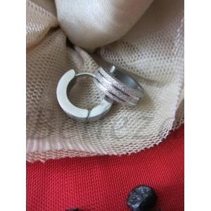 Обеци със сребърна баня от медицинска стомана и брокат E - 21316