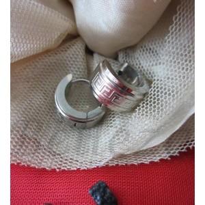 Обеци тип - халки със сребърна баня от медицинска стомана E - 21333