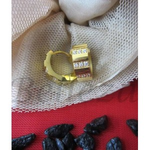 Дамски обеци тип - халки със златна баня от медицинска стомана ицирконий E - 21352