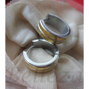 Обеци тип - халки със златна и сребърна баня от медицинска стомана E - 21350