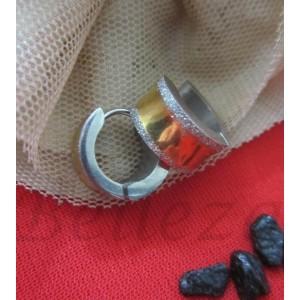 Обеци тип - халки със сребърна и златна баня от медицинска стомана и брокат E - 24
