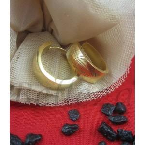 Дамски обеци тип-халки със златна баня, от медицинска стомана E - 21393