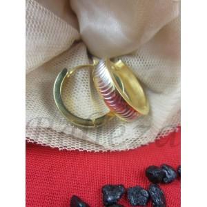 Дамски обеци тип - халки със златна и сребърна баня от медицинска стомана E - 21394