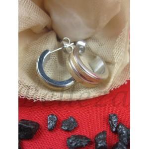 Дамски обеци тип-халки с винт, сребърна баня и златен брокат  от медицинска стомана Е - 21396