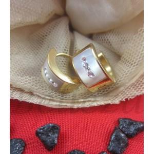 Обеци от медицинска стомана в златен цвят и седеф E - 21416