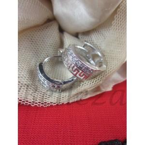 Обеци тип - халки със сребърна баня от медицинска стомана и кристали E - 21424