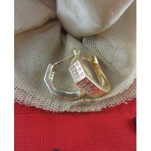 Обеци със златна баня от медицинска стомана и бели цирконий E - 21499