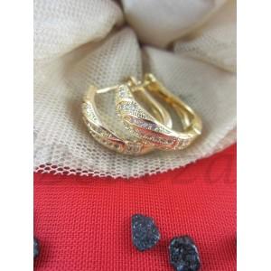 Дамски обеци в златен цвят от медицинска стомана E - 21732