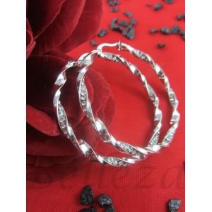 Дамски обеци тип - халки със сребърна баня от медицинска стомана и цирконий E - 21545