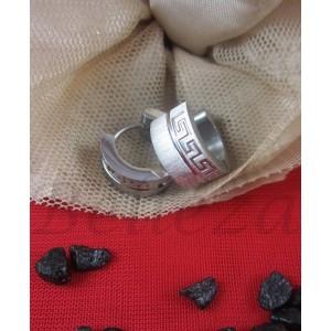 Обеци тип - халки със сребърна баня от медицинска стомана Е - 21555