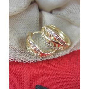 Дамски обеци със златна баня от медицинска стомана и бели цирконий Е - 21564