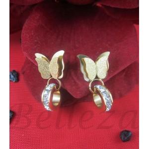 Дамски обеци с винт, златна баня от медицинска стомана и цирконий E - 21556