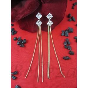 Дамски обеци с винт, златна баня от медицинска стомана и цирконий E - 21562
