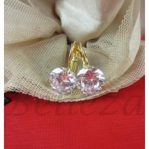 Дамски обеци в златен цвят от медицинска стомана и цирконий E - 21565