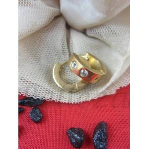 Дамски обеци със златна баня от медицинска стомана и бели цирконий E - 21569