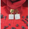 Дамски обеци с винт, златна баня от медицинска стомана и шамбала мотив E - 21575