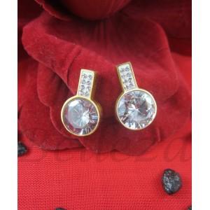 Дамски обеци с винт, златна баня от медицинска стомана, шамбала мотив и цирконий E - 21576