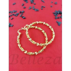 Дамски обеци тип - халки със златна баня от медицинска стомана E - 21584
