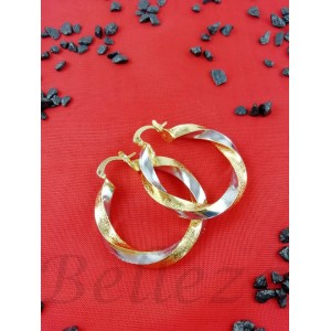 Дамски обеци тип - халки със златна и сребърна баня от медицинска стомана E - 21586