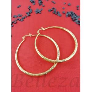 Дамски обеци тип - халки със златна баня от медицинска стомана E - 21590