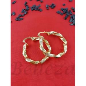 Дамски обеци тип - халки със златна баня от медицинска стомана E - 21593