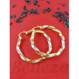 Дамски обеци тип - халки със златна и сребърна баня от медицинска стомана Е - 21592