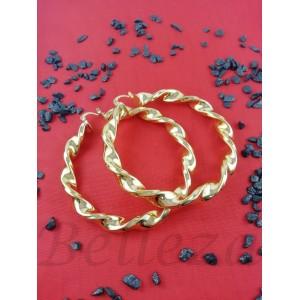Дамски обеци тип - халки със златна баня от медицинска стомана E - 21583